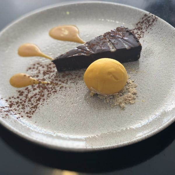 Rich Chocolate and Coconut Tart, Mango Sorbet